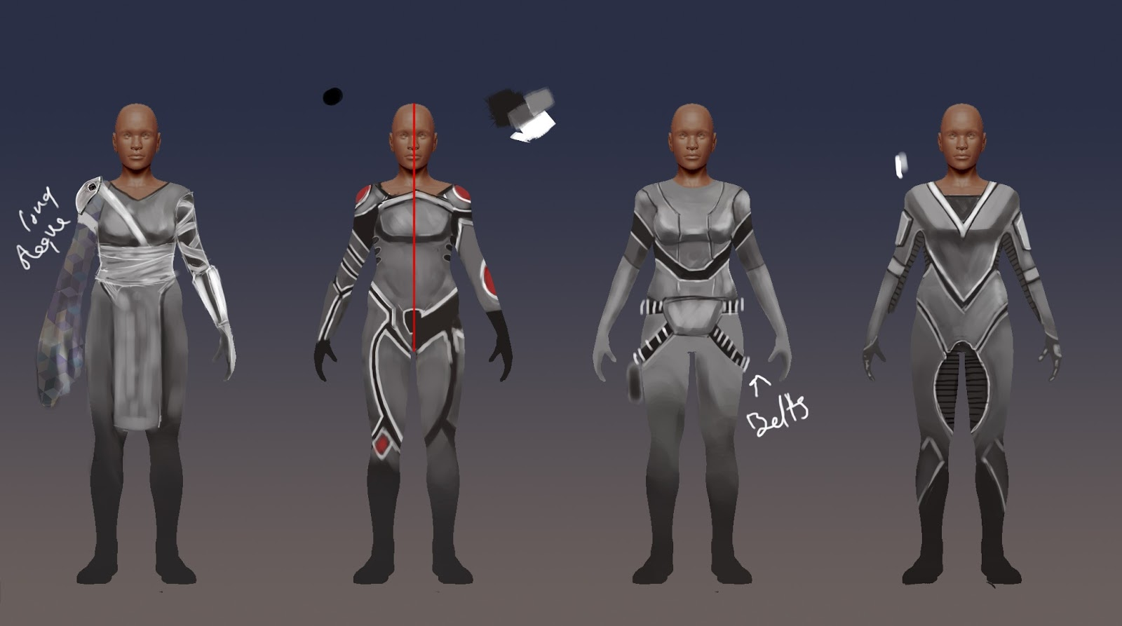 CyberPunk character designs for 3 3d characters.