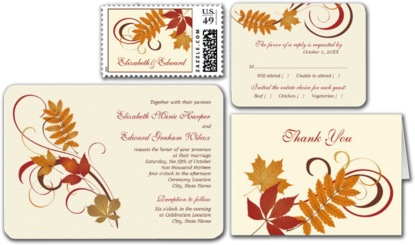 Autumn Fall Leaves Wedding Invitation
