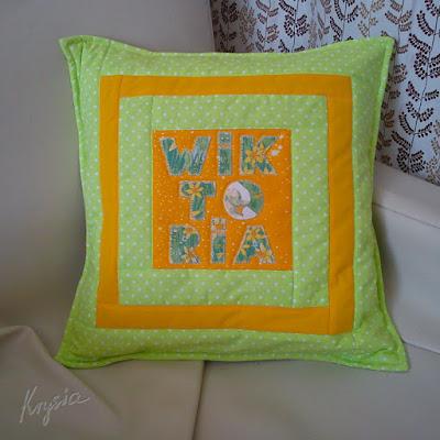 Krystia to uszyła personalizowana poduszka WIKTORIA