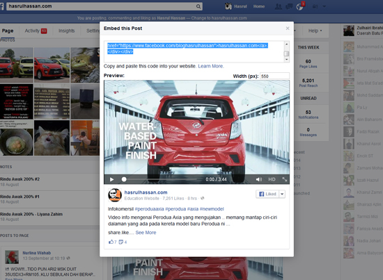 Cara Kongsi Status Facebook Dalam Entri Blog