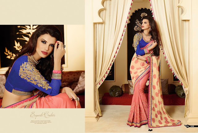 Fuchsia & Blue Georgette Saree With Jacquard Pallu With Embroidered In Blouse Sleeves And Stone & Patch Work