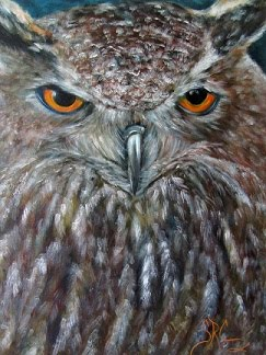 """Rings of Fire"", owl portrait, SOLD! Prints available at Sandra-Cutrer.artistwebsites.com"