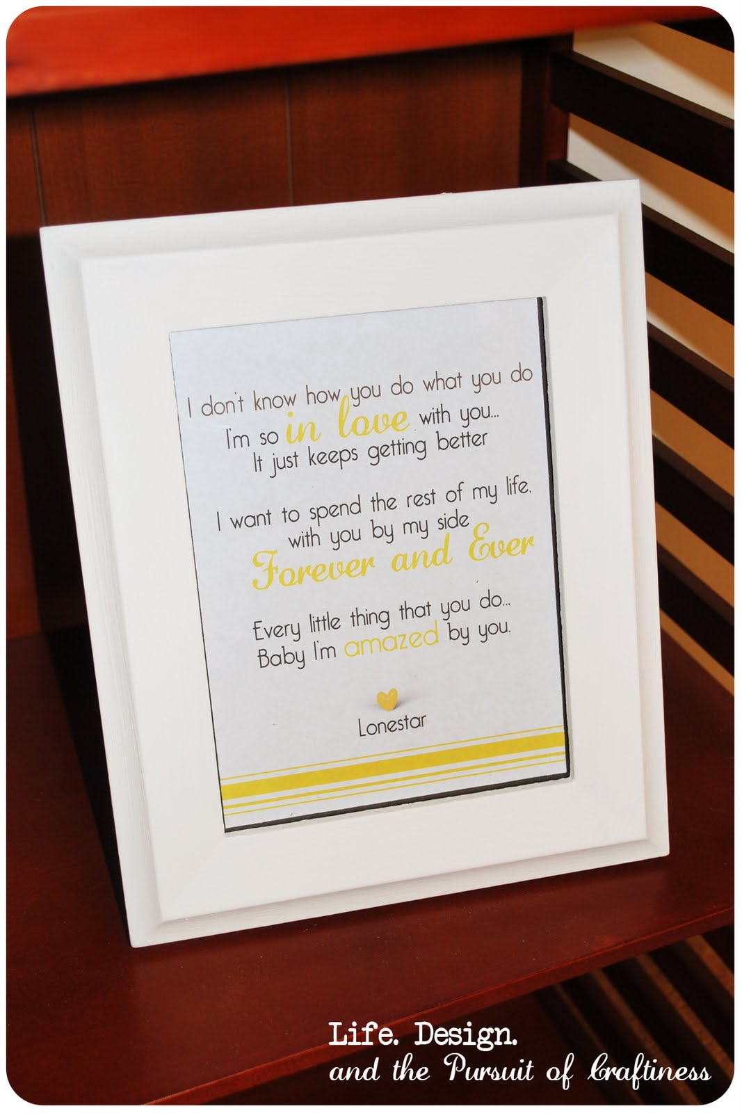 Life.Design. and the Pursuit of Craftiness: Framed Lyrics Print ...