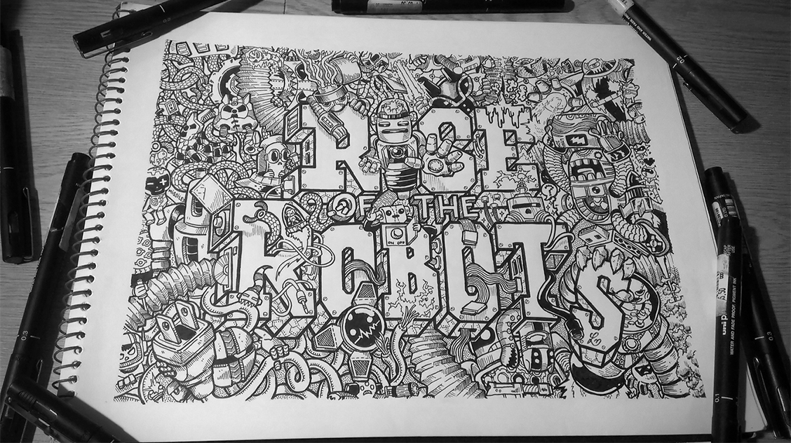 07-Rise-of-the-Robots-B&W-Lei-Melendres-Leight-Infinity-Mix-Doodles-www-designstack-co