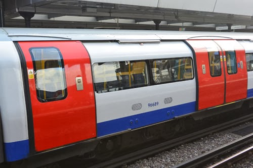 Tube train at Wembley Park Station, London