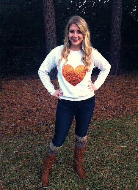 j crew inspired glitter heart sweater