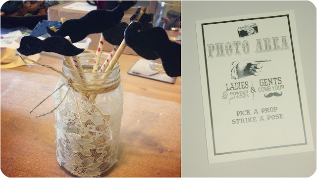 DIY Wedding photobooth with vintage lace jars and moustaches on sticks
