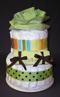 Green Cutie Small 2 Tier SGD Diaper Cake