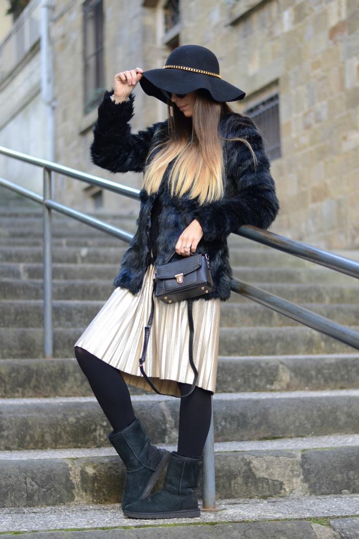 outfit invernale nero oro
