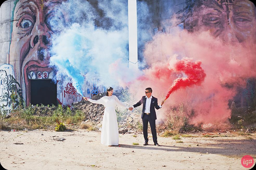 sesja ślubna race dymne silosy wrocław