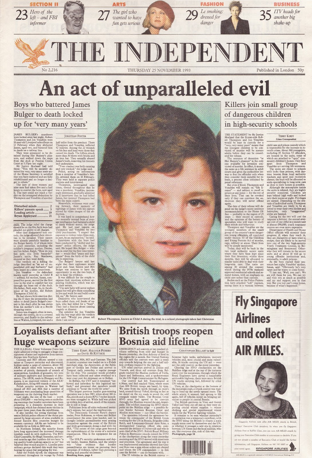 Hold The Front Page: James Bulger Trial Verdict