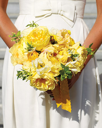 yellow peonies bouquet Wedding Inspiration: Peony Bouquets
