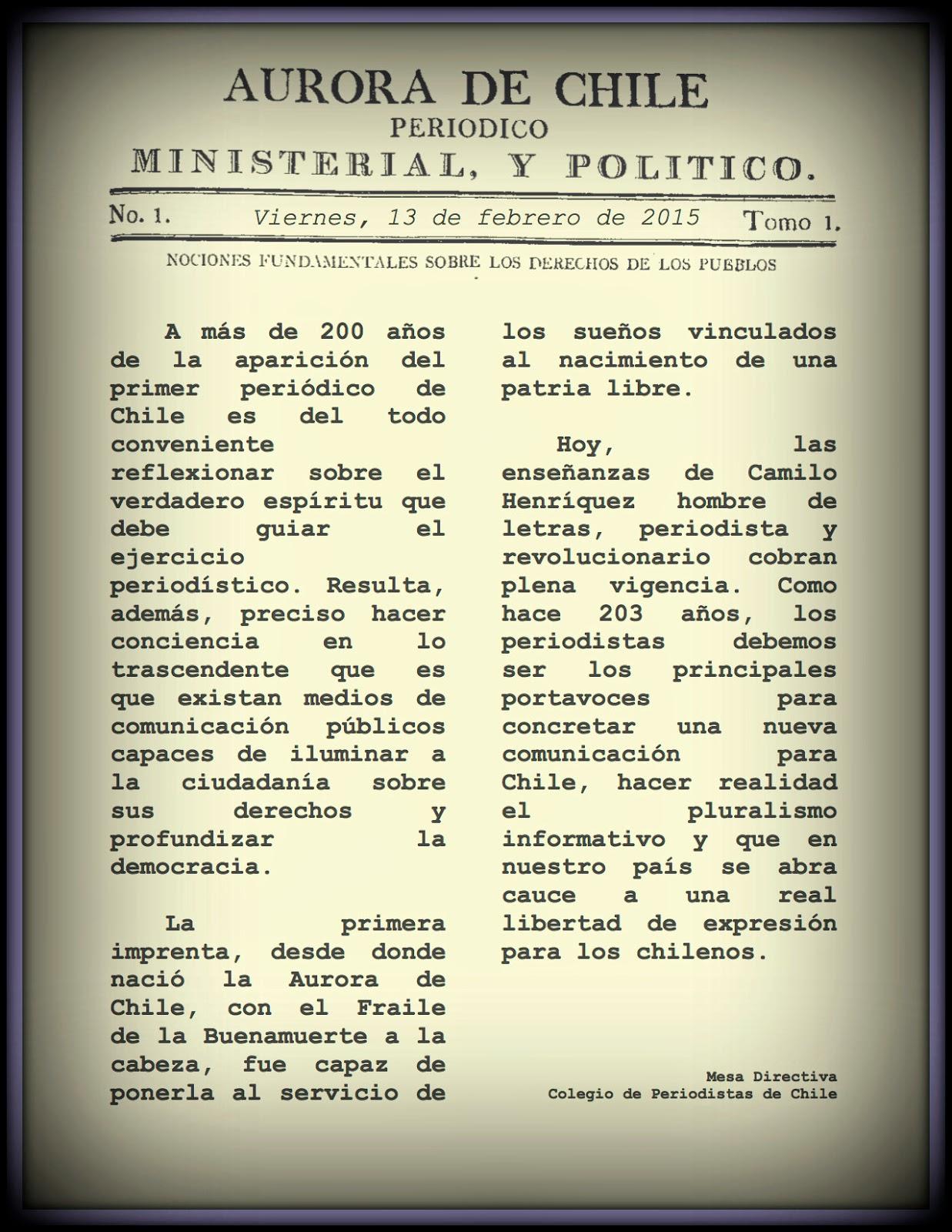 Saludo Colegio de Periodistas de Chile por el Día Nacional de la Prensa (13 de febrero)