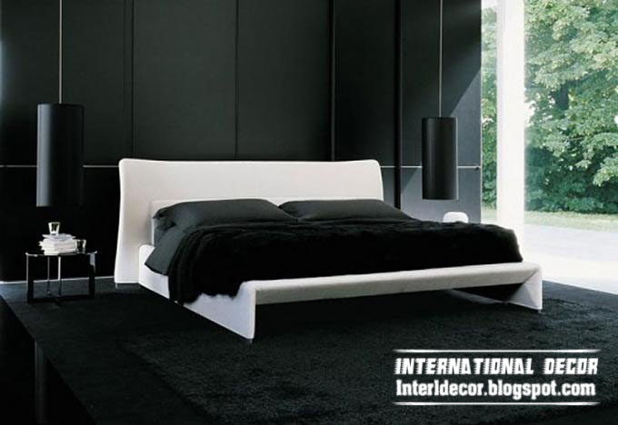 black paint and white furniture for bedrooms decoration modern black