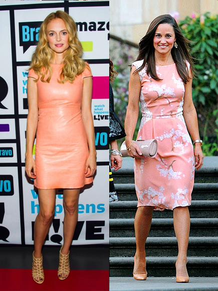 Heather Graham in peach leather Alice + Olivia dress and Pippa Middleton in peach Tabitha Webb dress.