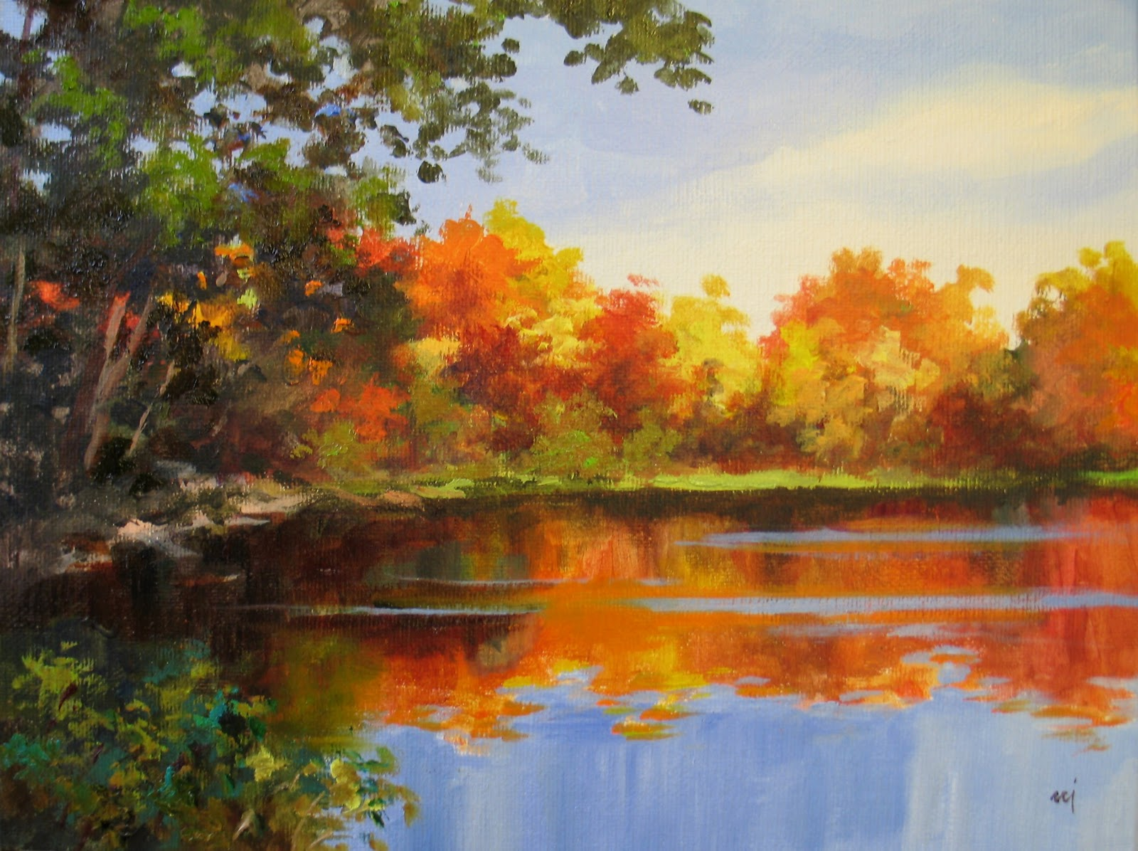 nel 39 s everyday painting fall cove demo painting sold