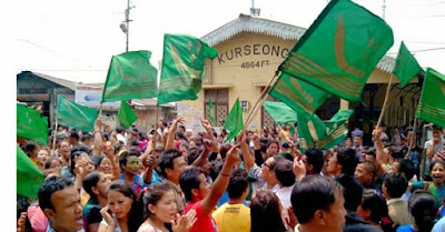 Supporter bearing GNLF flag in Kurseong