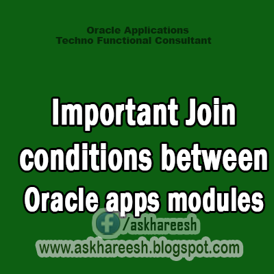 Important Join conditions between Oracle apps modules, askhareesh blog for Oracle Apps