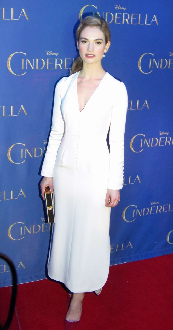 Lily James is elegant in white at the 'Cinderella' premiere in Toronto