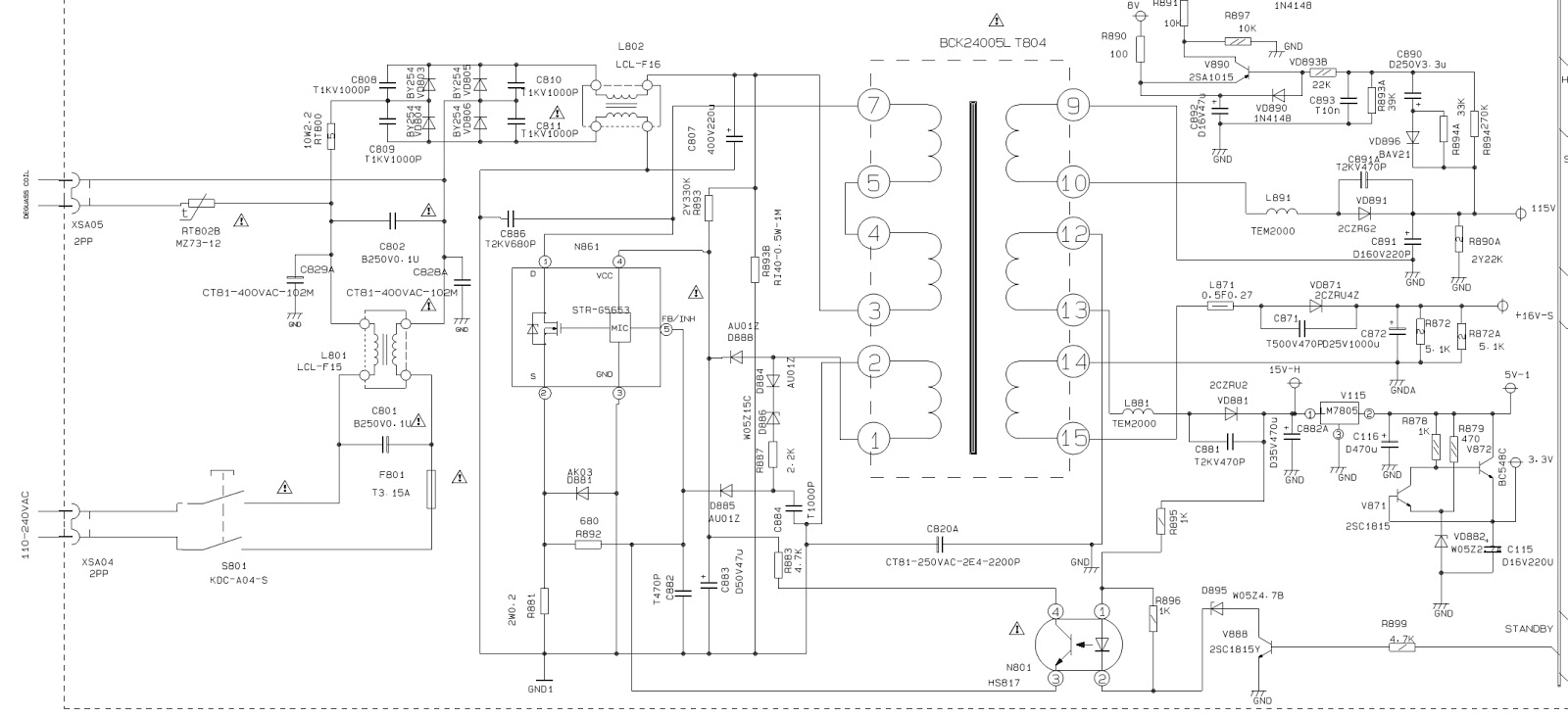 Schematic Diagram Of Power Supply Tv Smps Circuit Using Buz91 Hs817 Opto Coupler Voltage