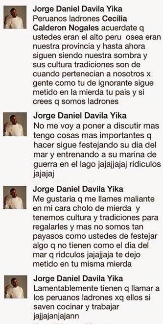 Publicaciones en Facebook insultando a Bolivia