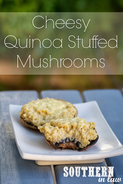 Cheesy Quinoa Stuffed Portobello Mushrooms - A gluten free, healthy side dish recipe
