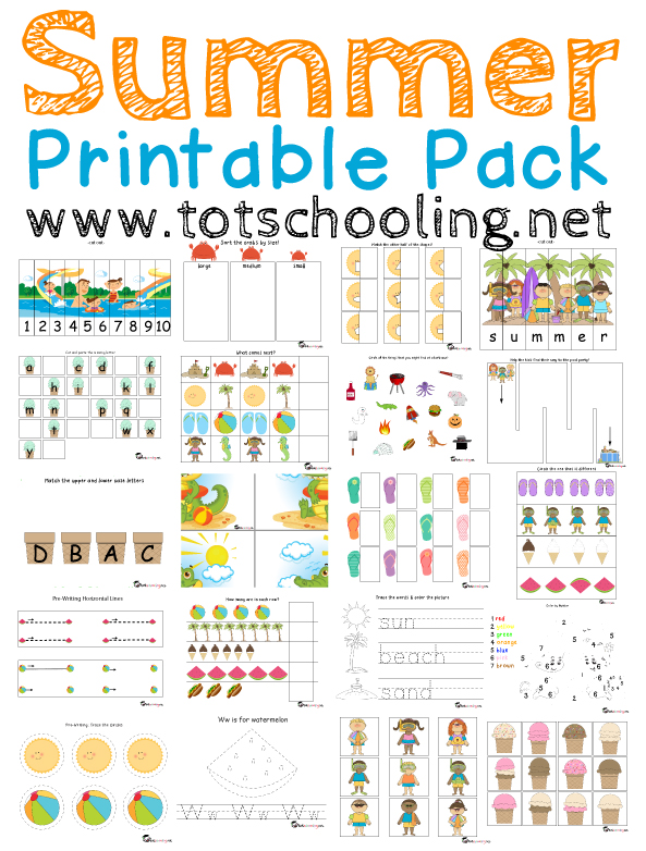 free summer printable pack for toddlers prek - Free Toddler Printables
