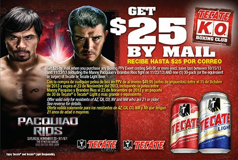 Tecate Beer Rebate Pacquiao vs. Rios HBO PPV