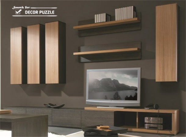 wooden modern TV wall units wall mounted