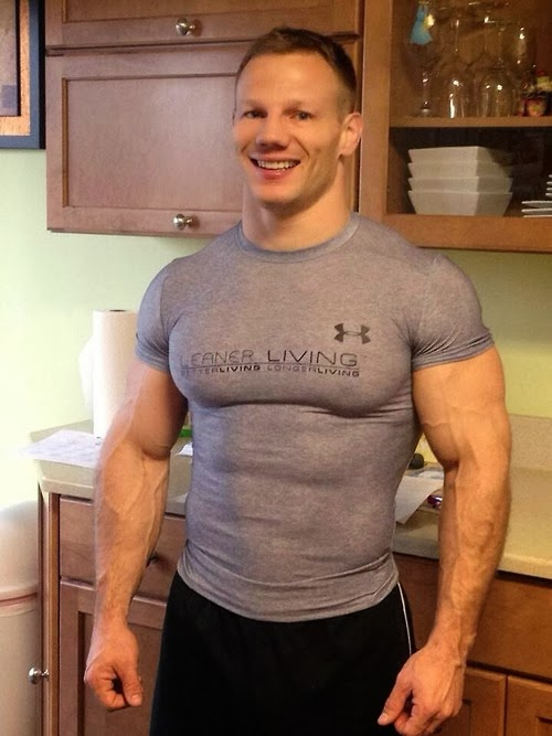 Super Buff Man in Underarmour Compression Shirt