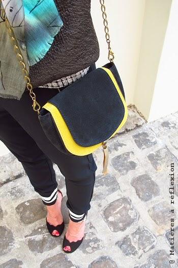Petit sac cuir vintage bleu jaune double rabat Matières à réflexion