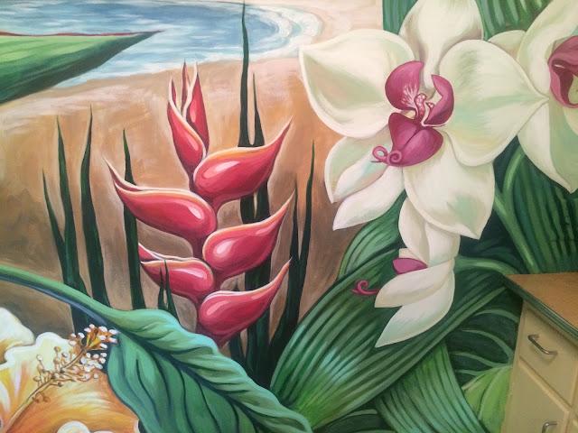 tropical mural, portland muralist, portland mural artist, tropical flowers mural, orchid mural