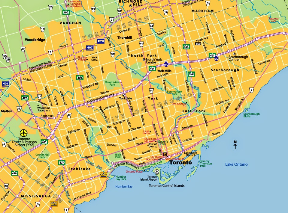simple map of Toronto Canada main roads