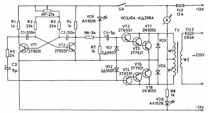 12v dc to 120ac inverter schematic