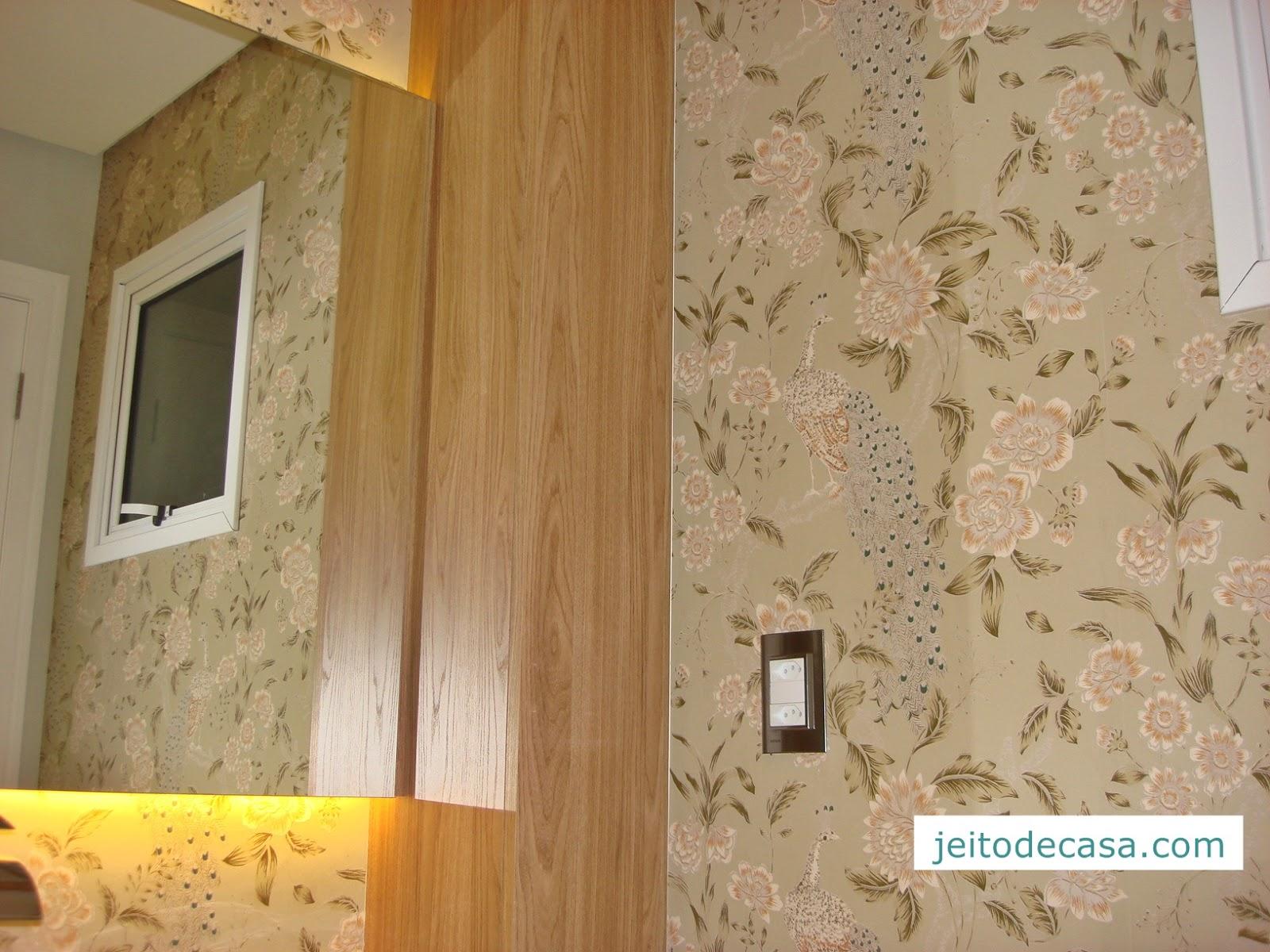 Lavabo decorado com papel de parede jeito de casa - Papel pared ...