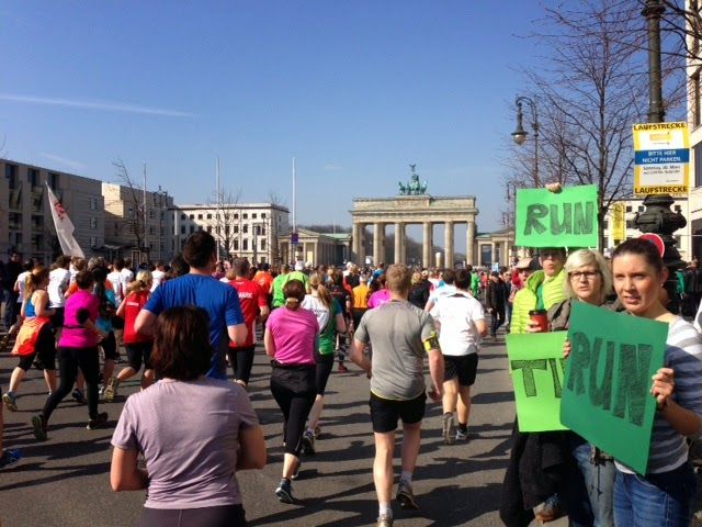 Running toward Brandenburg Gate