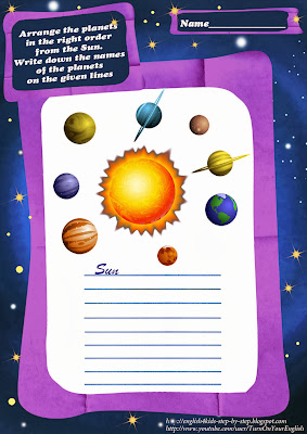 solar system planets order english worksheet