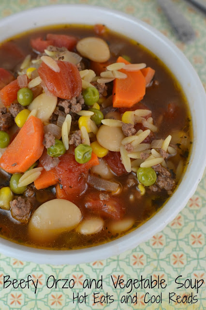 Old fashioned comfort food and super easy to make! Great for any cool weather meal! Beefy Orzo and Vegetable Soup Recipe from Hot Eats and Cool Reads