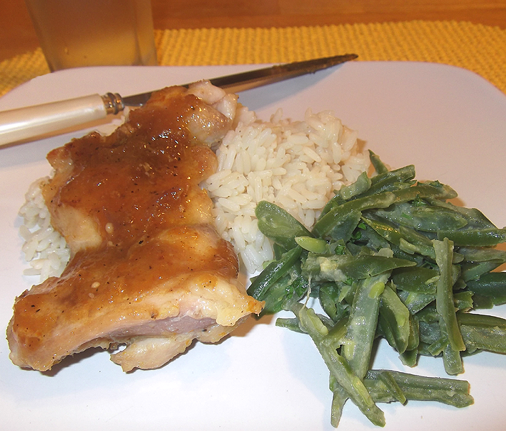 Chicken Thighs with Orange-Ginger Glaze and Dijon Green Beans from ...