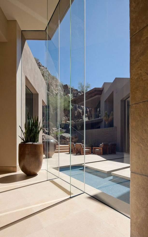 Glass wall in modern Dream home in the desert, Paradise Valley
