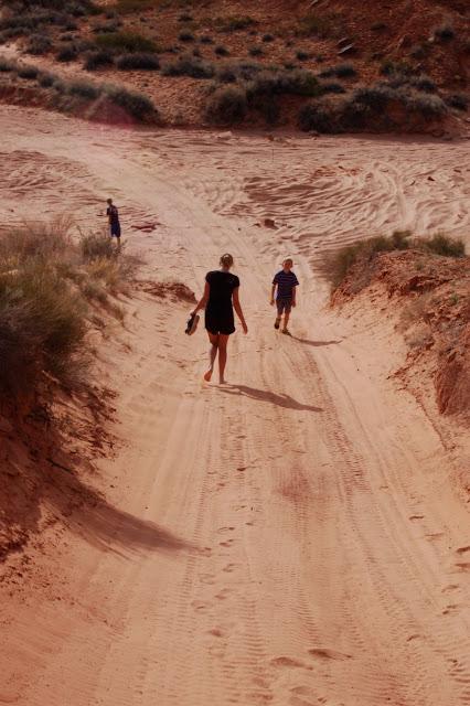 Kids Walking Down the Sandy 3D Jeep Trail Near Moab Utah