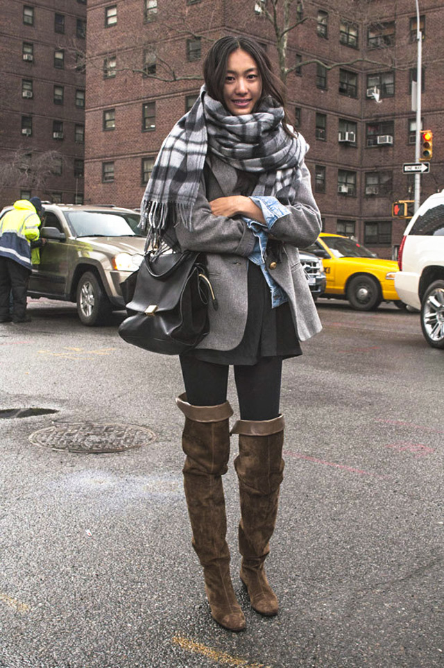 how and what to wear with over the knee boots: mini skirt, down jacket, blazer layering with check scarf and denim jacket