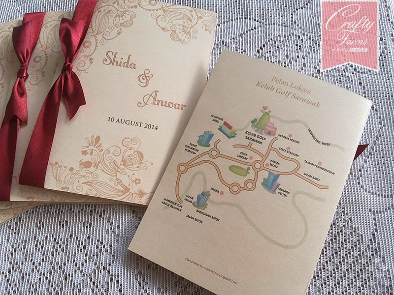 Classic Side Fold Malay Wedding Card with Maroon Ribbon, Kelab Golf Sarawak