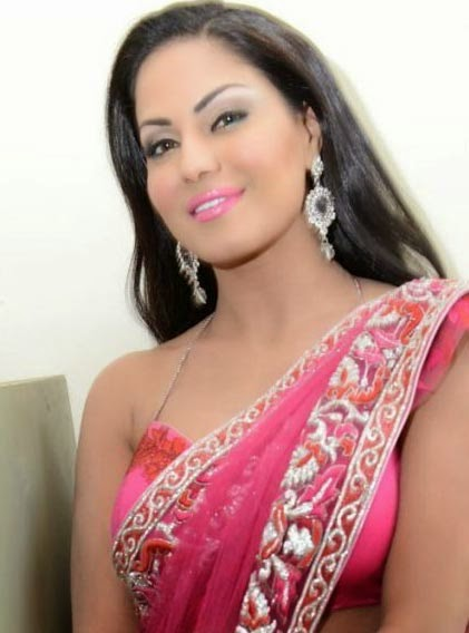 Pakistani actress Veena Malik in saree wallpaper