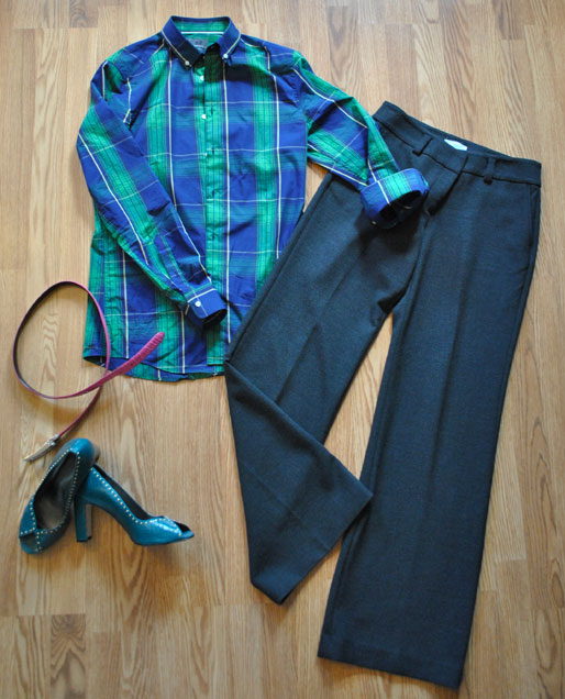 a style of your own blog, one piece multiple ways, how to wear your boyfriend's shirt, how to wear a men's dress shirt, plaid shirt, business casual