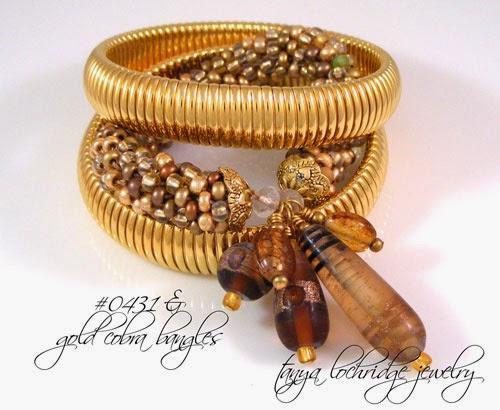 Brown & Gold Lampwork Friendship Bangle Bracelet
