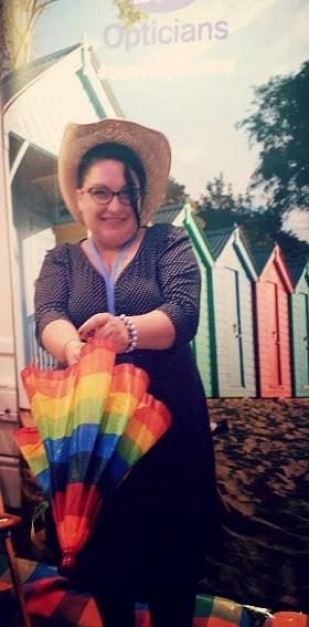 Fever Heritage Polka Dot Navy Cream Dress Sun Hat Rainbow Parasol  Pastel Beach Huts