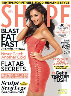 Nicole Scherzinger wears Herve Leger on the December 2011 cover of Shape magazine