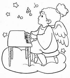risco de anjinho com piano para pintar