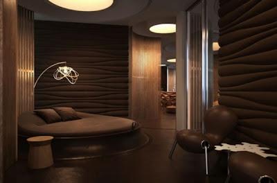 habitación color marrón